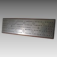 Vintage Cribbage Board, Edward Leonard, Nickel Plate