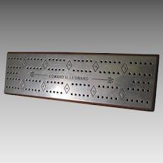 Vintage Cribbage Board, Edward Leonard, Nickel Plate