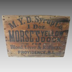Antique Advertising Crate, Morse's Yellow Dock, Medical, Apothecary