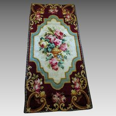 Beautiful Antique 19thC Tapestry, Roses in Urn, Victorian Rug