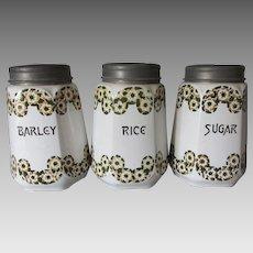 Antique Canister Set, Rice, Sugar, Barley, Czech Art Pottery