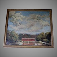 Lovely Impressionistic Oil  Painting of a Covered Bridge, Country Landscape