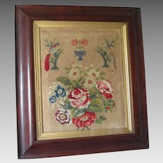 Antique English Sampler with Flowers, Birds & Urns