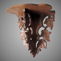 Antique 19thC Hand Carved Folk Art Shelf with Leaves