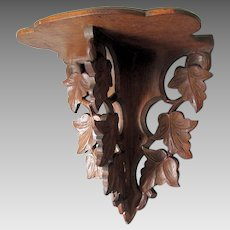 Antique 19thC Hand Carved Folk Art Shelf with Leaves