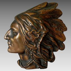 c1930 Bronze Plaque of a Native American Indian Chief