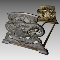Antique Expanding Bookends with Elephant Motif