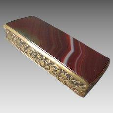 19th Century Antique Agate Pocket Match Safe Vesta