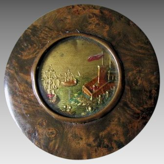 Antique Napoleonic Snuff Box with Naval Ship, Castle, Fort & Soldiers