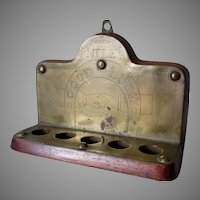 Antique Folk Art Pipe Rack with Engraved Horse Shoe & Handshake