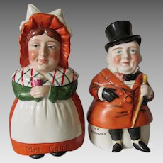 Antique Porcelain Porcelain Boxes, Dickens  Characters Mr Micawber & Mrs Gamp