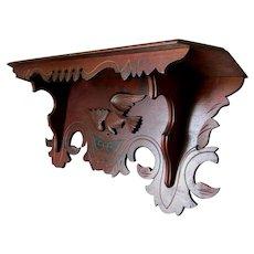 Antique c1880s Hand Carved Shelf with Bird Motif, Architectural Clock Shelf
