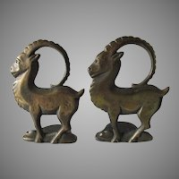 Antique Art Deco Figural Ram Bookends, Cast Iron