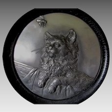 Antique Repousse Plaque of a Kitten, Cat with Bubble Bee, Signed