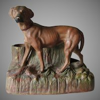 Antique 19thC Figural Dog Match Safe, Cigar Holder, Desk Accessory