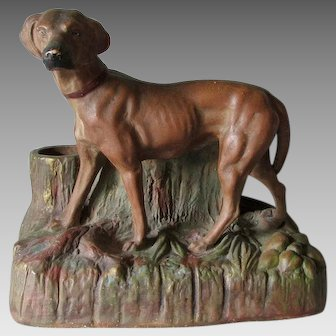 Antique 19thC Figural Dog Match Safe, Cigar Holder, Desk Accessory