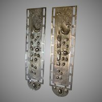Antique Victorian Architectural Push Plates, Flowers and Drape Motif