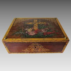 Beautiful Antique Victorian Box with Hand Painted Cross, Roses, Gilt