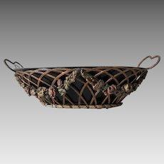 Lovely Victorian Barbola Toleware Basket, Tole Flower Centerpiece