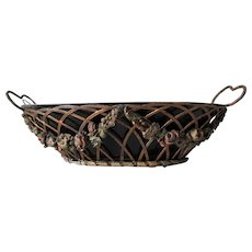 Lovely Victorian Barbola Toleware Basket, Tole Flower Centerpiece