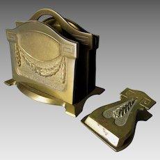 Antique Bronze Desk Set, Letter Holder & Paperclip, Laurel Leaf Motif