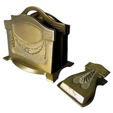 Antique Bronze Desk Set, Letter Holder & Paperclip, Laurel Leaf Motif