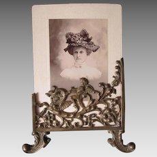 19thC Picture Frame with Cherub Angel Riding Gargoyle, Mythological