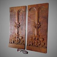 Pair Antique Hand Carved Architectural Panels, Art Nouveau Motif