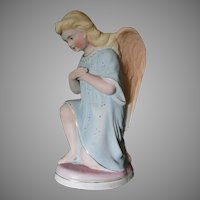 Victorian Bisque Porcelain Angel Figurine, Edwardian, European