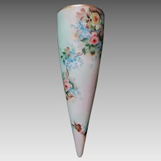 Vintage Hand Painted Wall Pocket, European Porcelain