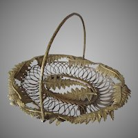 Lovely Antique Calling Card Receiver, Basket with Fern Motif