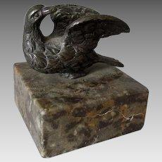 Antique Bronze Bird Paperweight, Desk Accessory