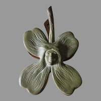 Lovely Antique Art Nouveau Paperclip, Ladies Face within a Flower