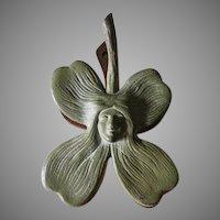 Lovely Antique Art Nouveau Paperclip, Ladies Face within a Flower