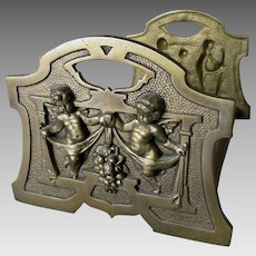 Antique Expanding Bookends with Cherub Angels & Fruit Swags