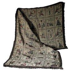 Antique Tapestry Metallic Lace Tablecloth, English, Renaissance Motif