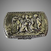 Antique  Snuff Box of Frolicking Cherubs, Hallmarked FR 800