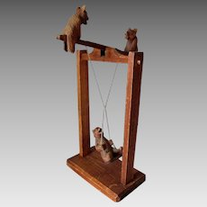 Adorable Hand Carved Bears on a Swing & Teeter Totter Toy, Folk Art