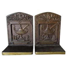 Antique Bradley & Hubbard Cast Iron Bookends, Feather Pen, Aladdin Lamp, Books