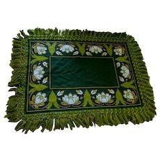 Antique Art Nouveau Wool Tapestry, Tablecloth, Water Lily Flowers