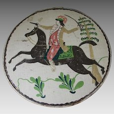 Old Folk Art, Tole Painted Box with Soldier on Horseback, Cheese Box