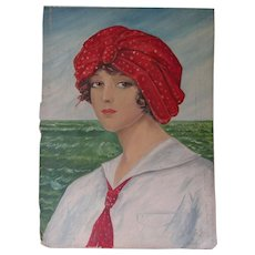 Antique Oil Painting of a Lovely Lady, Edwardian, Folk Art