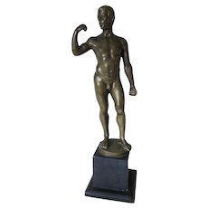 Antique Bronze Sculpture of a Nude Man, Signed S Schwatenberg