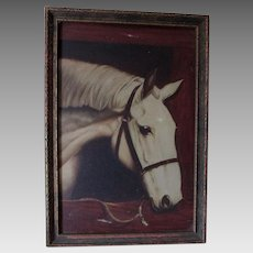 Antique Oil Painting of a White Horse, Signed