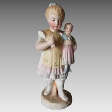 Antique c1880s Girl with her Doll, Victorian Bisque Figurine