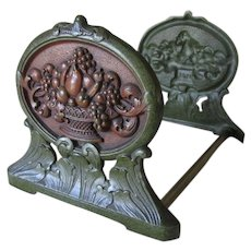 Lovely Antique Expanding Bookends with Fruit Baskets