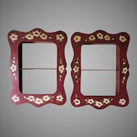 Pretty Pair of Hand Painted Toleware Shadowbox Frames, Tole Shelves