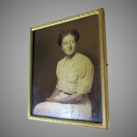Vintage c1920-30s Gold Orotone Photograph of a Woman