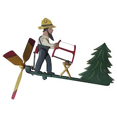 Vintage Metal Whirligig of a Man Sawing Wood, Original Paint