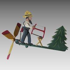 Vintage Metal Whirligig of a Man Sawing Wood, Original Paint